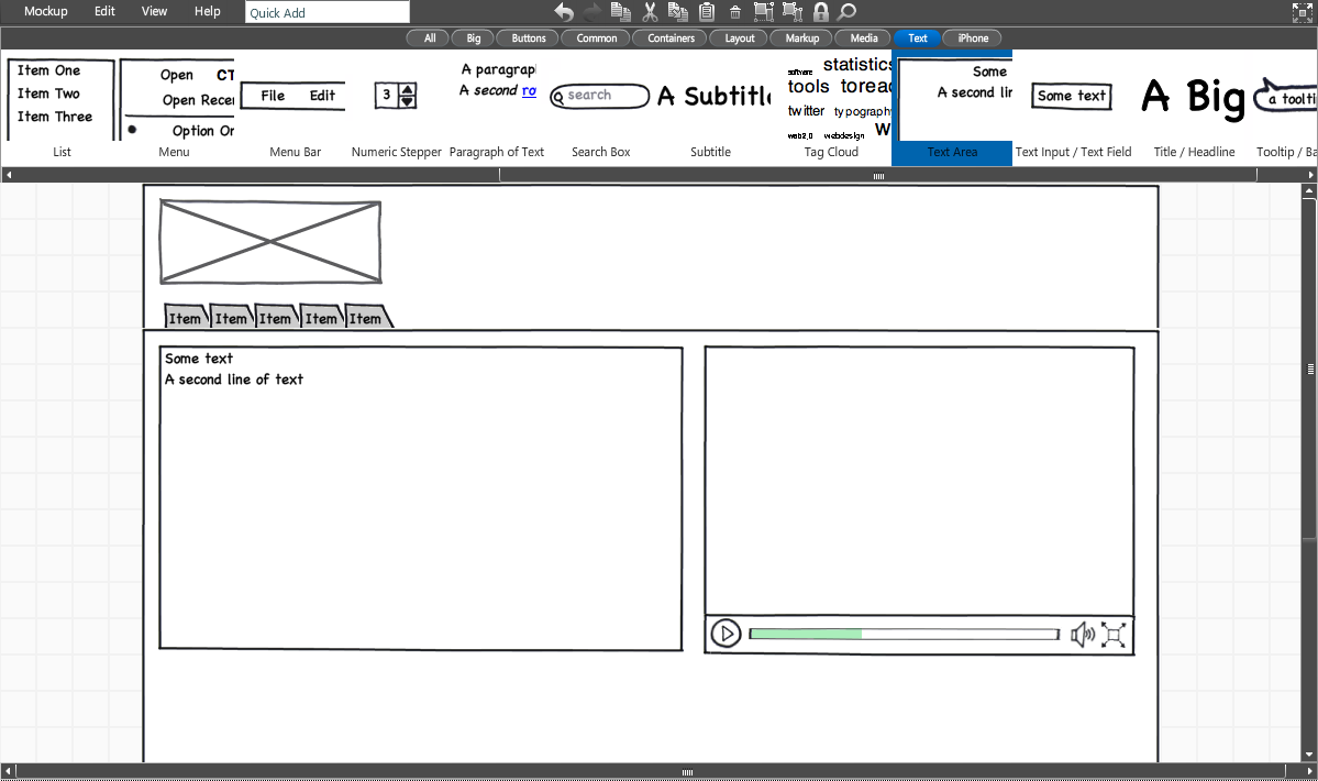 screen shot of the balsamiq application