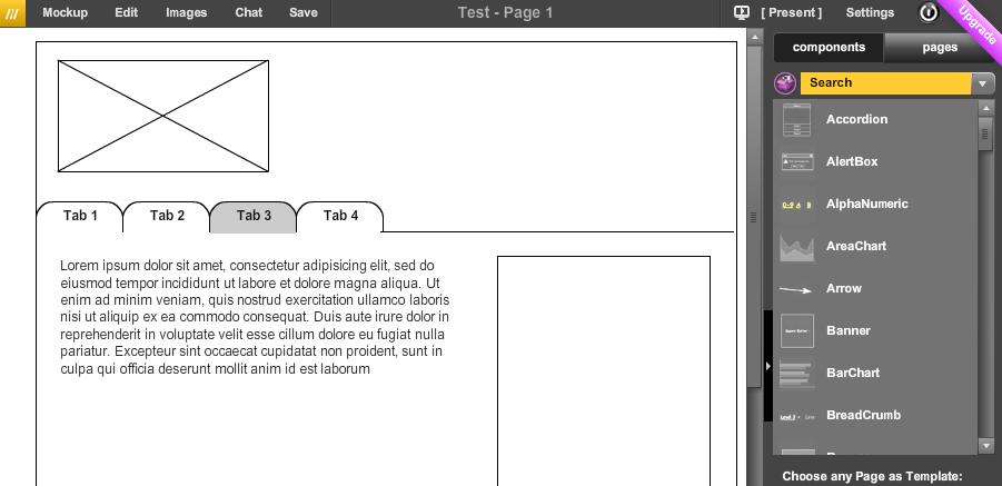 screen shot of the mockflow application