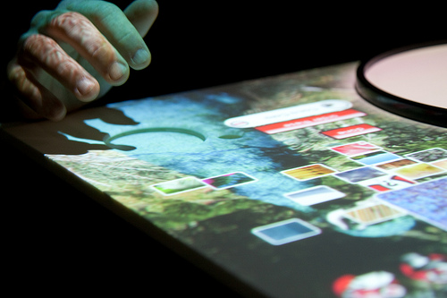 Touchpad on the interactive table