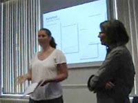Picture of Rebecca Gill and Hilary Palmen doing a presentation