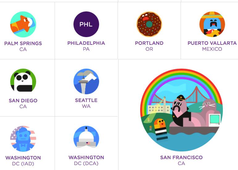 Virgin America map symbols