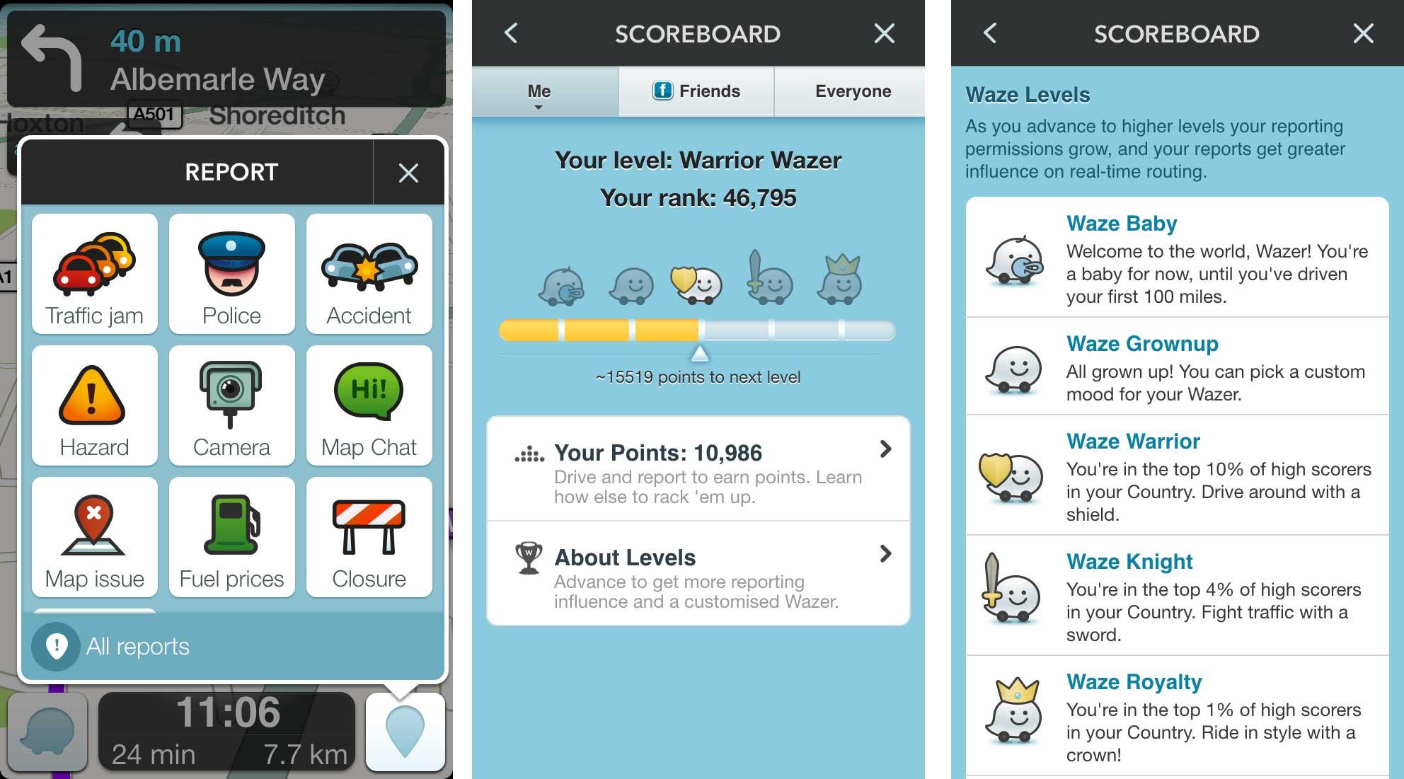 Waze app screen shots