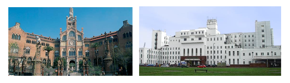Hospital de San Pau, Barcelona (left), St Helier Hospital, London (right)