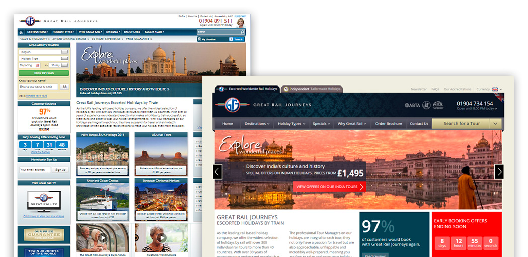 Great Rail Journeys website before and after