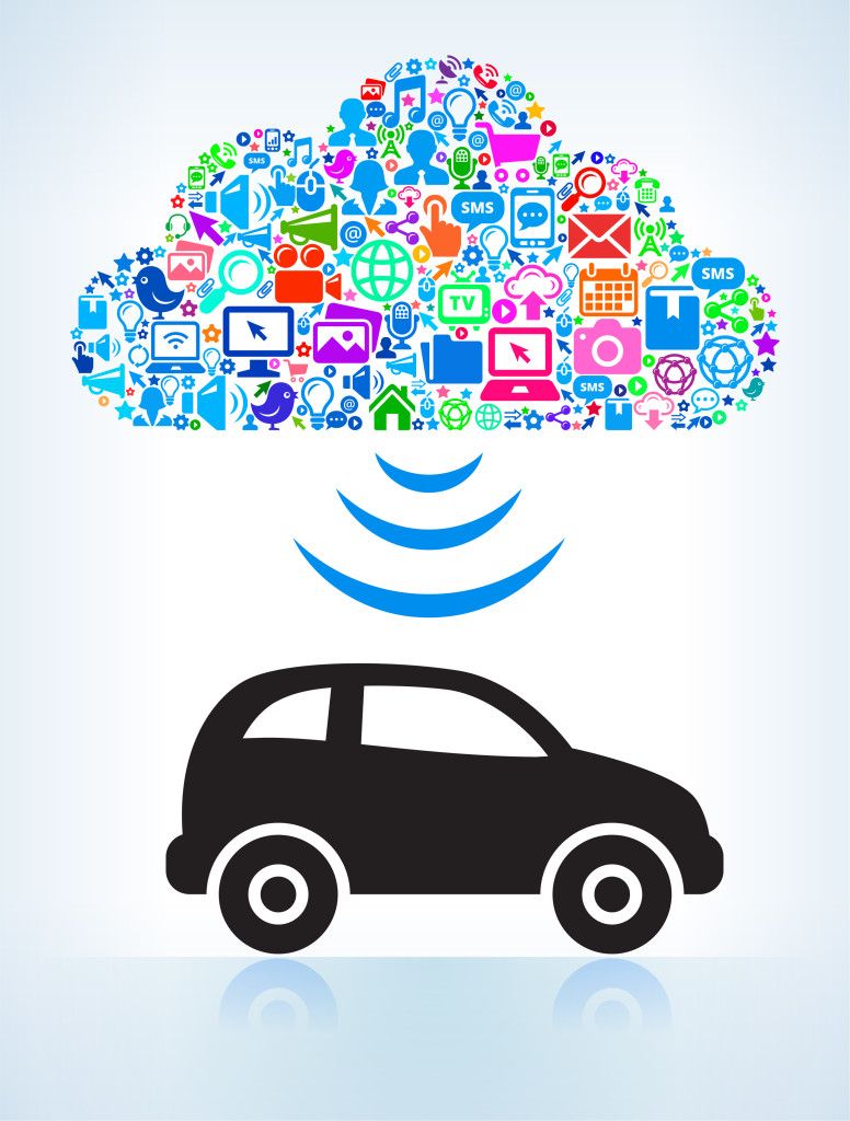 Car with Modern Technology & Communication Cloud